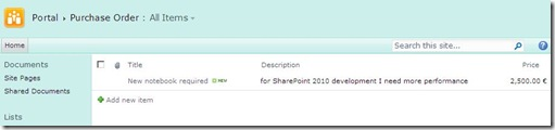 0_Sharepoint_Liste ist angelegt
